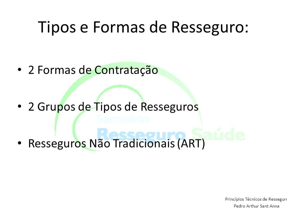 Tipos e Formas de Resseguro: 2 Formas de Contratação 2 Grupos de Tipos de Resseguros Resseguros Não Tradicionais (ART) Princípios Técnicos de Ressegur