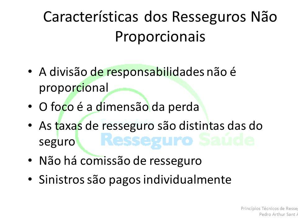 Características dos Resseguros Não Proporcionais A divisão de responsabilidades não é proporcional O foco é a dimensão da perda As taxas de resseguro