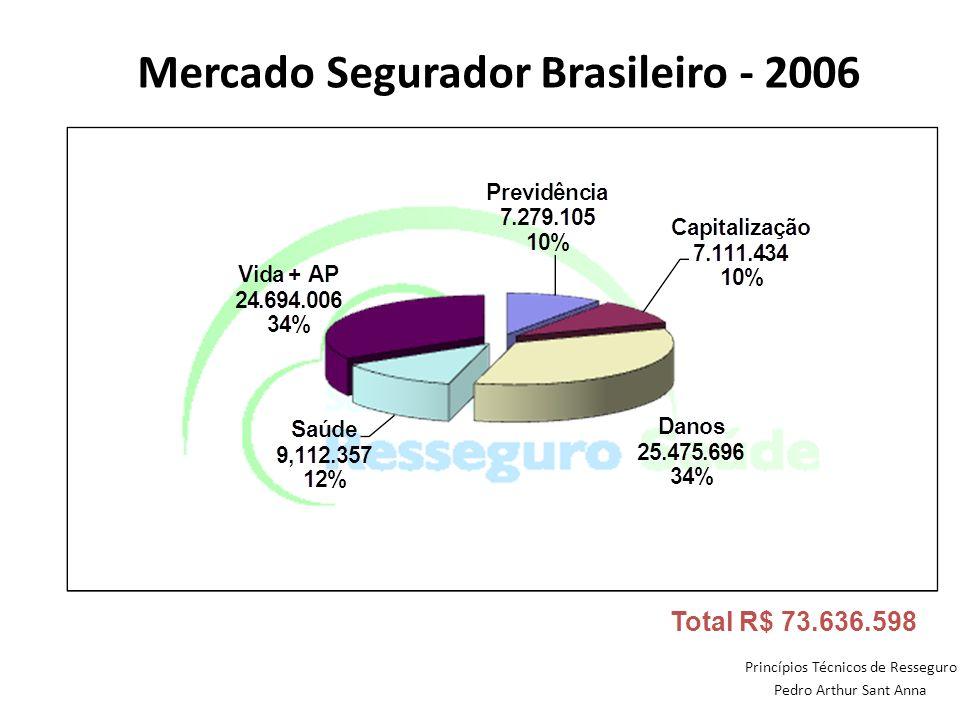 Princípios Técnicos de Resseguro Pedro Arthur Sant Anna Mercado Segurador Brasileiro - 2006 Total R$ 73.636.598