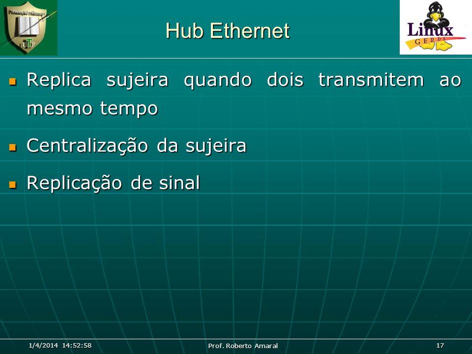 1/4/2014 14:54:40 Prof. Roberto Amaral 17 Hub Ethernet Replica sujeira quando dois transmitem ao mesmo tempo Replica sujeira quando dois transmitem ao