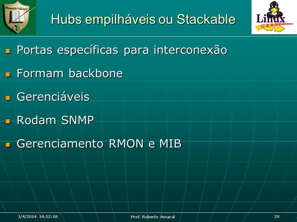 1/4/2014 14:54:40 Prof. Roberto Amaral 29 Hubs empilháveis ou Stackable Portas específicas para interconexão Portas específicas para interconexão Form