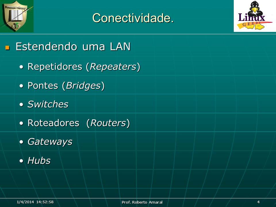 1/4/2014 14:54:39 Prof. Roberto Amaral 4 Conectividade. Estendendo uma LAN Estendendo uma LAN Repetidores (Repeaters)Repetidores (Repeaters) Pontes (B