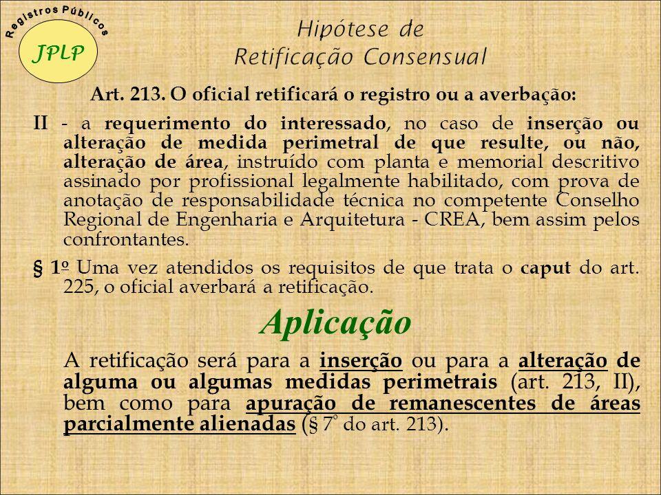 Art. 213. O oficial retificará o registro ou a averbação: II - a requerimento do interessado, no caso de inserção ou alteração de medida perimetral de