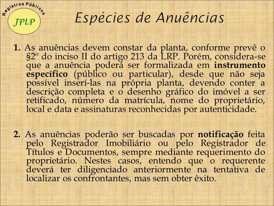 1. As anuências devem constar da planta, conforme prevê o §2º do inciso II do artigo 213 da LRP. Porém, considera-se que a anuência poderá ser formali