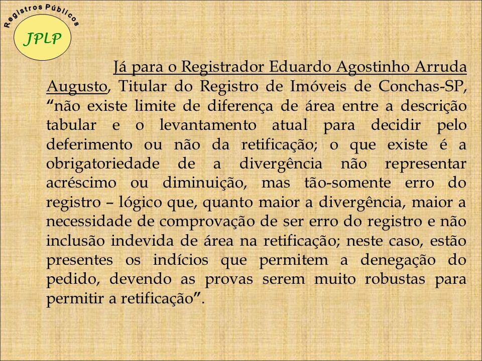 Já para o Registrador Eduardo Agostinho Arruda Augusto, Titular do Registro de Imóveis de Conchas-SP, não existe limite de diferença de área entre a d
