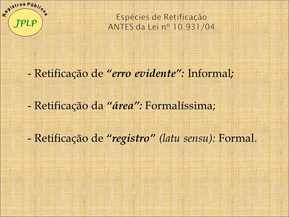 - Retificação de erro evidente: Informal ; - Retificação da área: Formalíssima; - Retificação de registro (latu sensu): Formal. JPLP