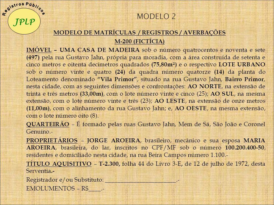 MODELO DE MATRÍCULAS / REGISTROS / AVERBAÇÕES M-200 (FICTÍCIA) IMÓVEL – UMA CASA DE MADEIRA sob o número quatrocentos e noventa e sete (497) pela rua