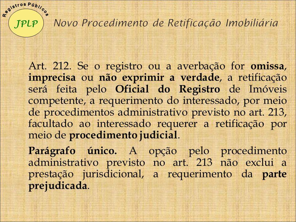 Art. 212. Se o registro ou a averbação for omissa, imprecisa ou não exprimir a verdade, a retificação será feita pelo Oficial do Registro de Imóveis c