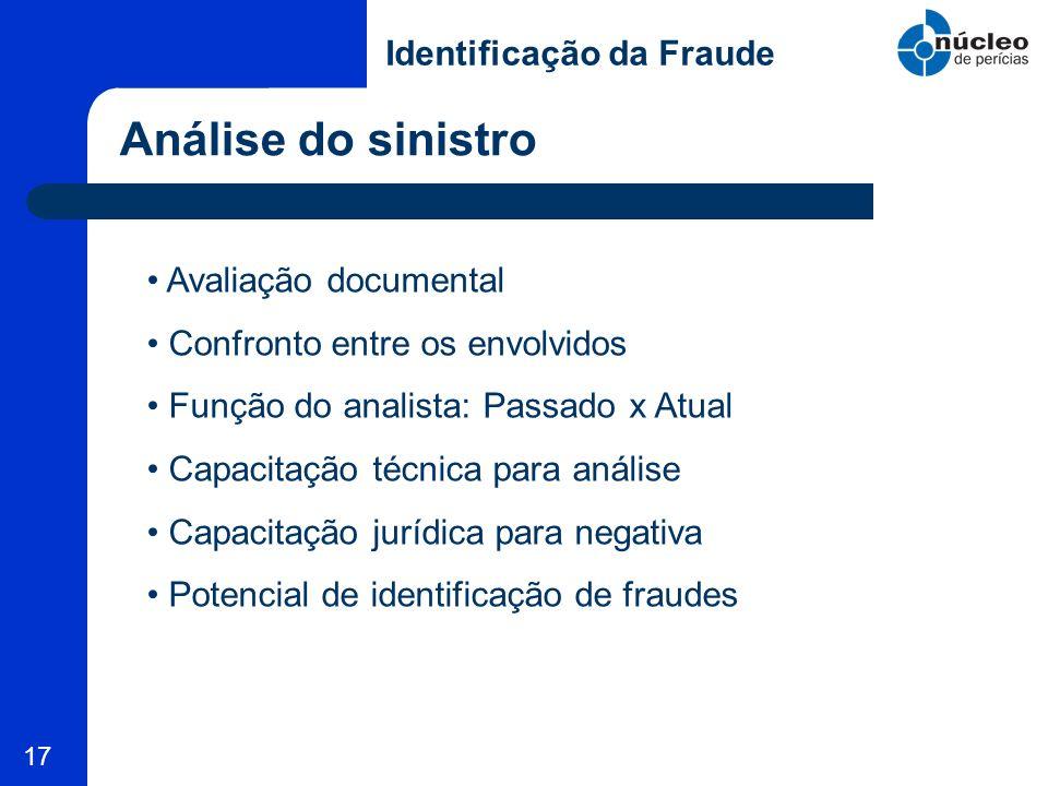 17 Análise do sinistro Identificação da Fraude Avaliação documental Confronto entre os envolvidos Função do analista: Passado x Atual Capacitação técn