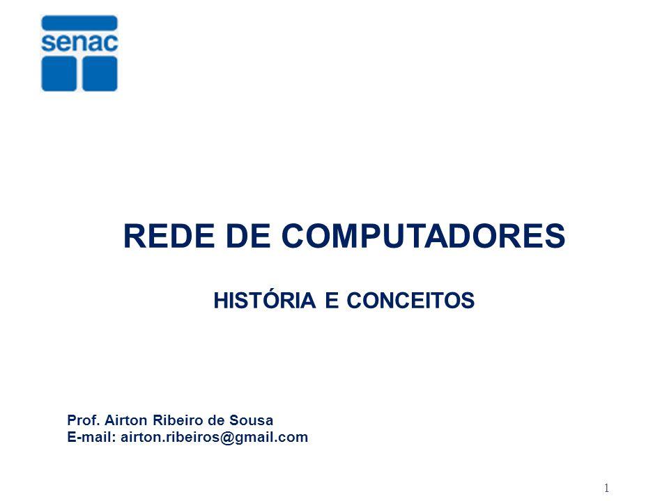 1 REDE DE COMPUTADORES HISTÓRIA E CONCEITOS Prof. Airton Ribeiro de Sousa E-mail: airton.ribeiros@gmail.com SERVIÇO NACIONAL DE APRENDIZAGEM COMERCIAL