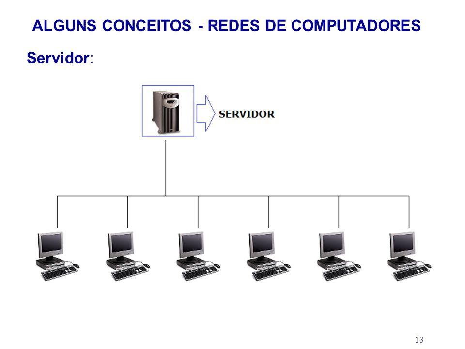 13 ALGUNS CONCEITOS - REDES DE COMPUTADORES Servidor: