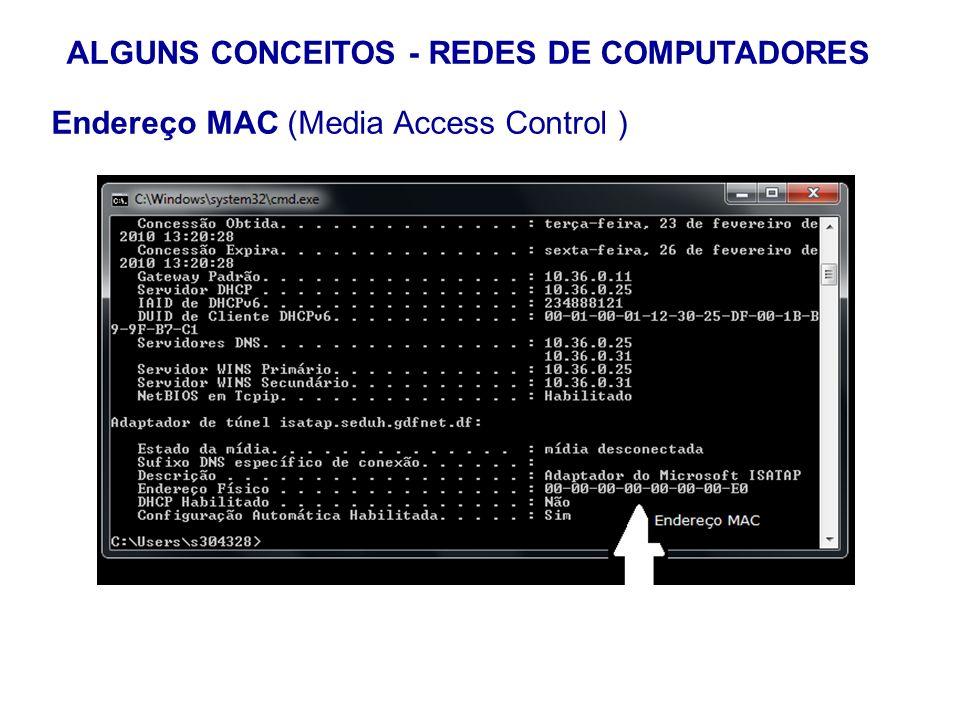 18 ALGUNS CONCEITOS - REDES DE COMPUTADORES Endereço MAC (Media Access Control ) Comando para visualização das configuraçoes de rede: ipconfig/all