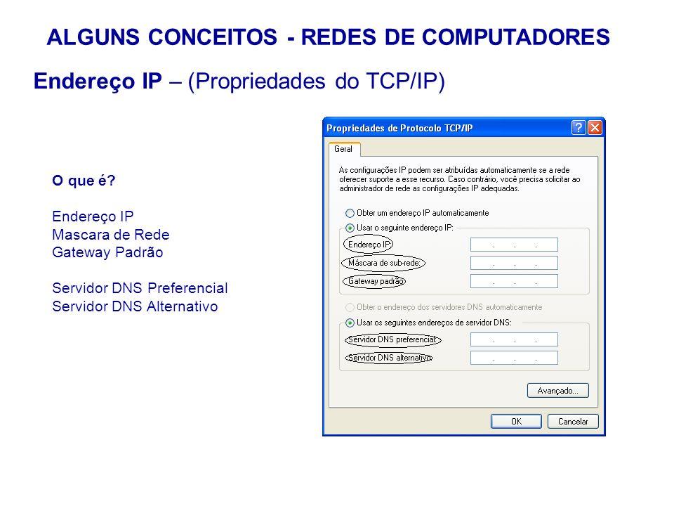 22 ALGUNS CONCEITOS - REDES DE COMPUTADORES Endereço IP – (Propriedades do TCP/IP) O que é? Endereço IP Mascara de Rede Gateway Padrão Servidor DNS Pr