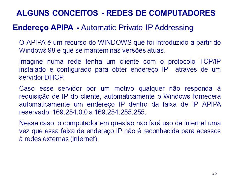 25 ALGUNS CONCEITOS - REDES DE COMPUTADORES Endereço APIPA - Automatic Private IP Addressing O APIPA é um recurso do WINDOWS que foi introduzido a par