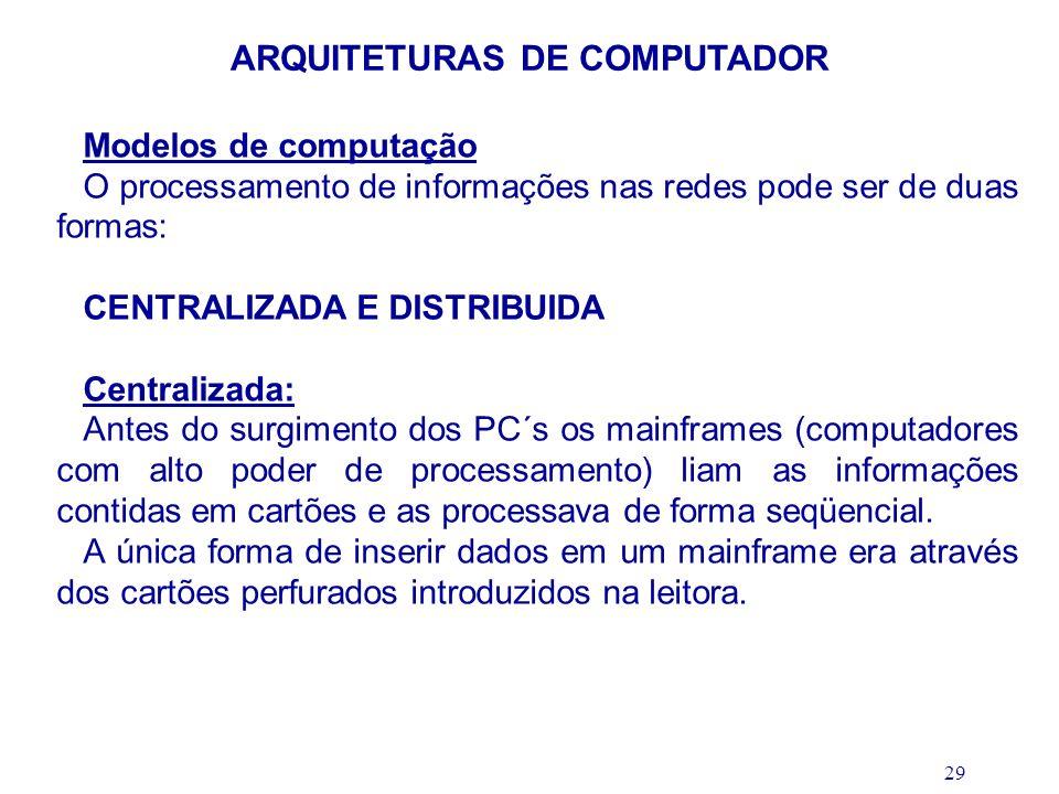 29 ARQUITETURAS DE COMPUTADOR Modelos de computação O processamento de informações nas redes pode ser de duas formas: CENTRALIZADA E DISTRIBUIDA Centr