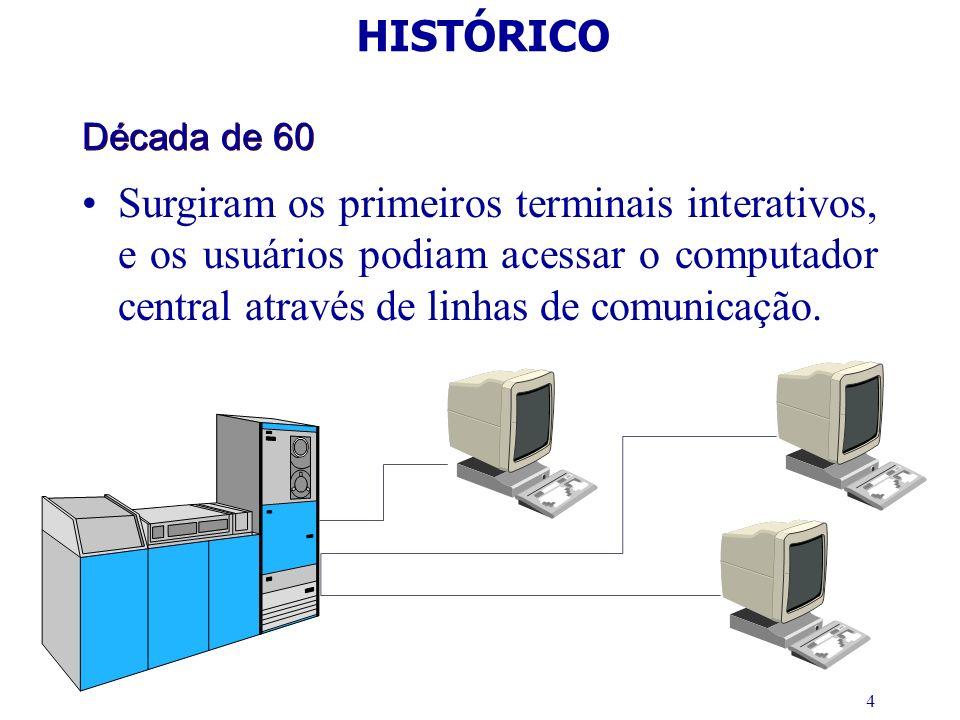 4 Década de 60 Surgiram os primeiros terminais interativos, e os usuários podiam acessar o computador central através de linhas de comunicação. HISTÓR