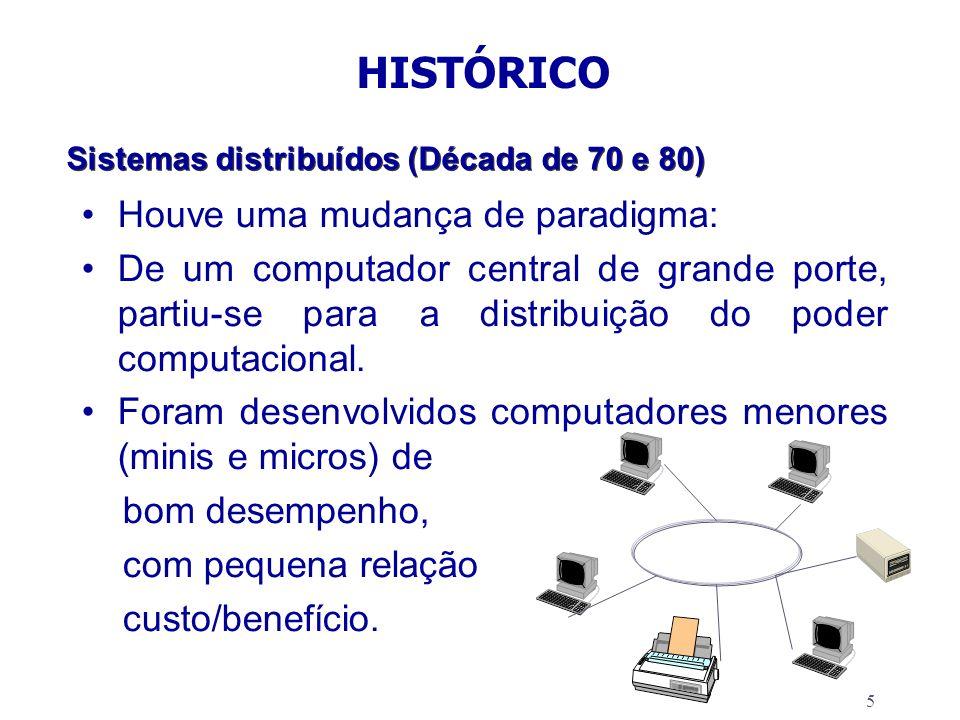 5 Sistemas distribuídos (Década de 70 e 80) Houve uma mudança de paradigma: De um computador central de grande porte, partiu-se para a distribuição do