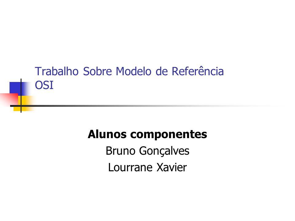Trabalho Sobre Modelo de Referência OSI Alunos componentes Bruno Gonçalves Lourrane Xavier