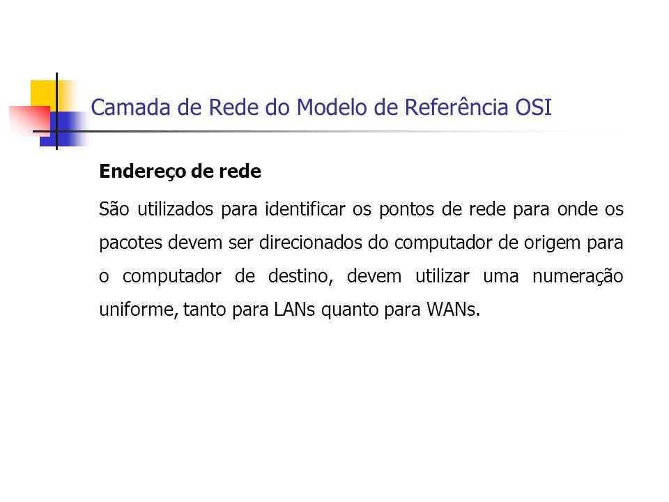 Camada de Rede do Modelo de Referência OSI Endereço de rede São utilizados para identificar os pontos de rede para onde os pacotes devem ser direciona
