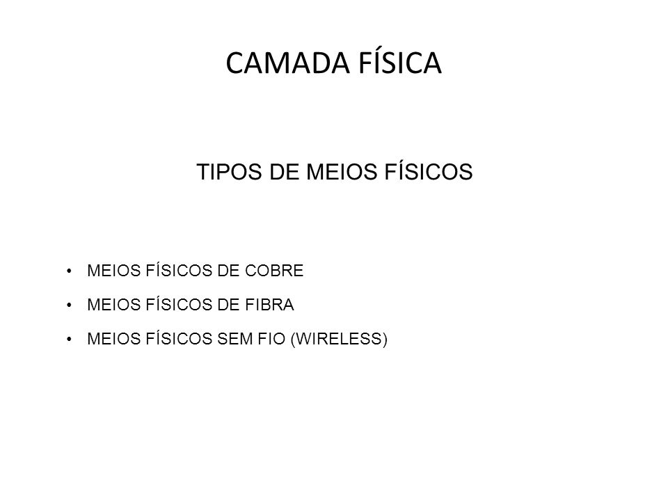 TIPOS DE MEIOS FÍSICOS MEIOS FÍSICOS DE COBRE MEIOS FÍSICOS DE FIBRA MEIOS FÍSICOS SEM FIO (WIRELESS) CAMADA FÍSICA