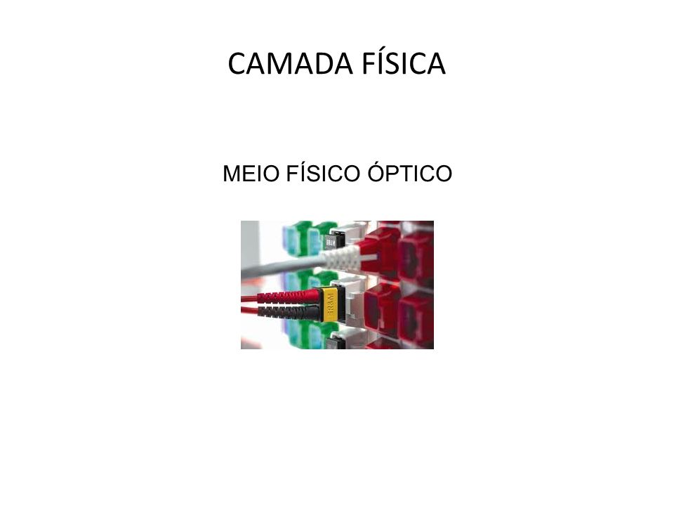 MEIO FÍSICO COAXIAL MEIO FÍSICO PAR TRANÇADO CAMADA FÍSICA