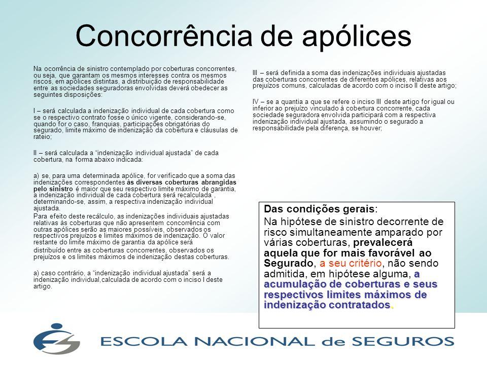 Concorrência de apólices Na ocorrência de sinistro contemplado por coberturas concorrentes, ou seja, que garantam os mesmos interesses contra os mesmo