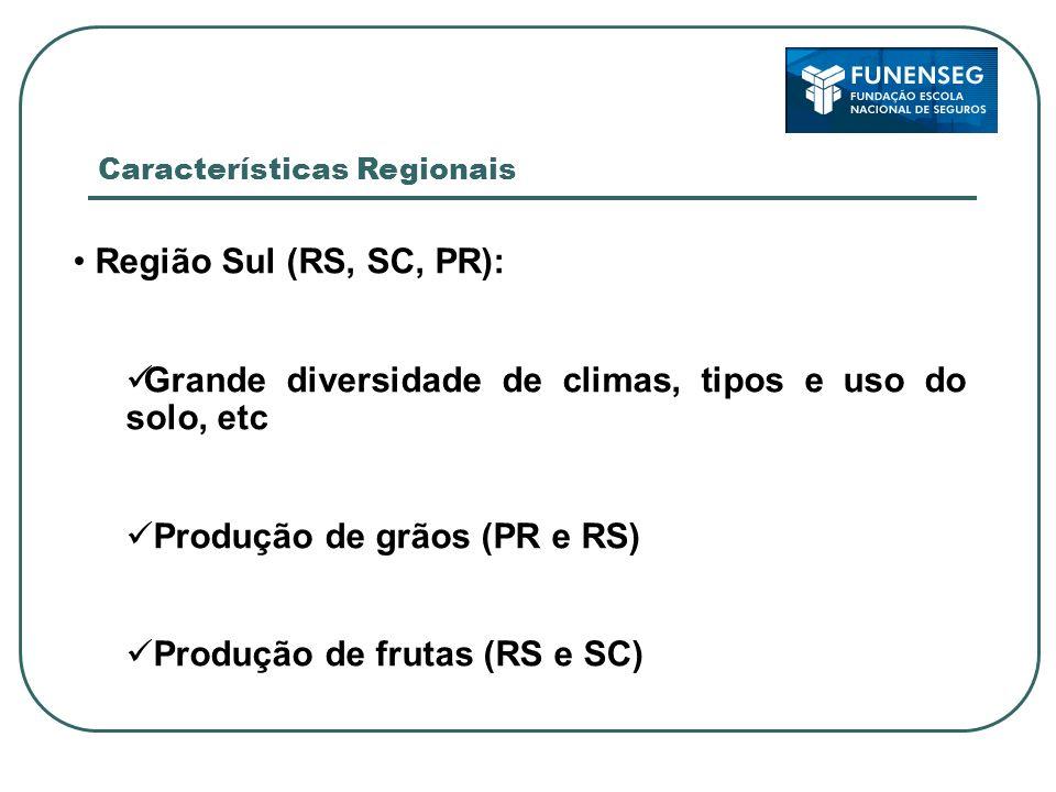 Região Sudeste (SP, MG, RJ, ES): Grande diversidade de climas, tipos e uso do solo, etc Produção de grãos, cana-de-açúcar, frutas e olerícolas Características Regionais