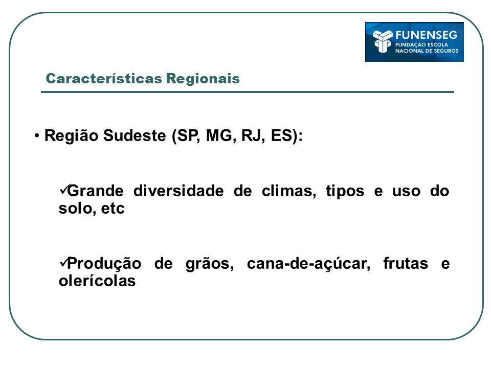 Região Centro-Oeste (MS, MT, GO): Grande diversidade de climas, tipos e uso do solo (Cerrado), etc Produção de grãos, cana-de-açúcar, florestas e pastagens Características Regionais