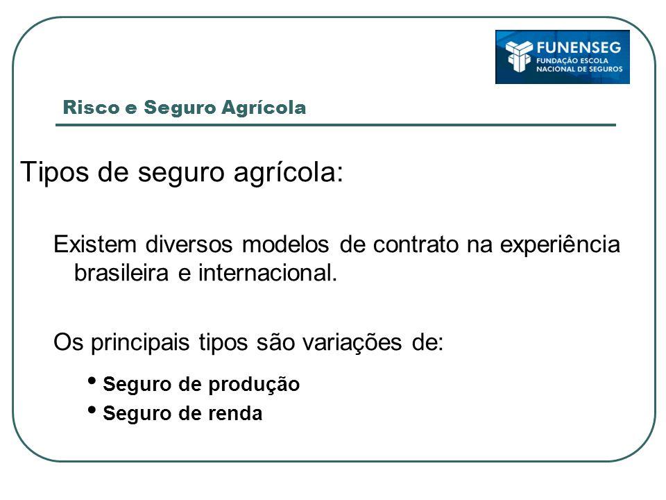 Ramos do Seguro Rural – Seguro Agrícola Objeto de Seguro: Explorações agrícolas contra perdas decorrentes de fenômenos meteorológicos.