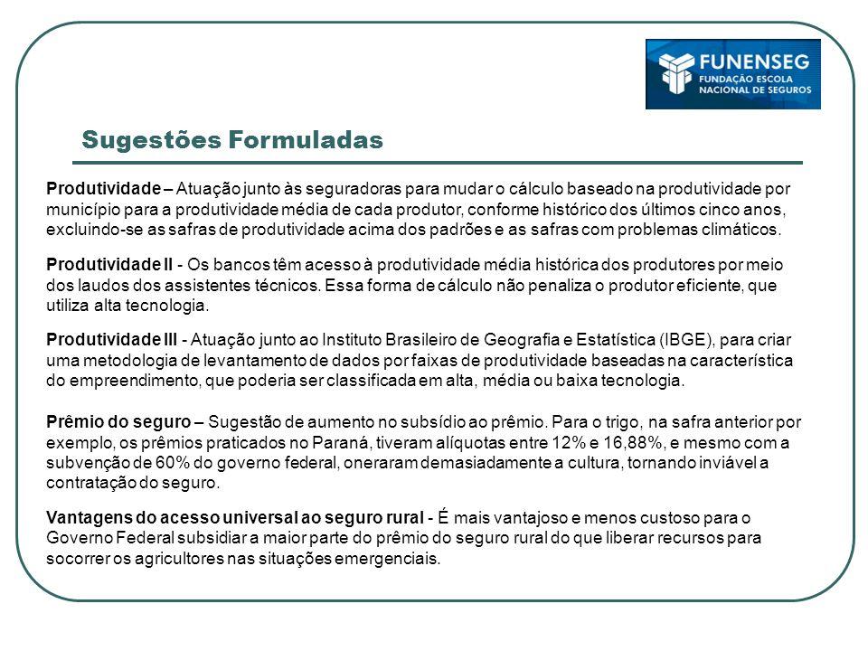 Ferramentas para desenvolver modelos adequados de seguro agrícola Informações para gerenciamento adequado do risco Fundo de catástrofe Ações governamentais Conclusões Finais
