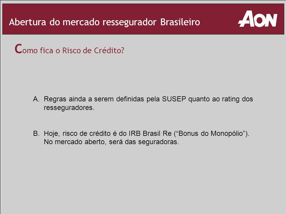 Abertura do mercado ressegurador Brasileiro C omo fica o Risco de Crédito? A.Regras ainda a serem definidas pela SUSEP quanto ao rating dos ressegurad