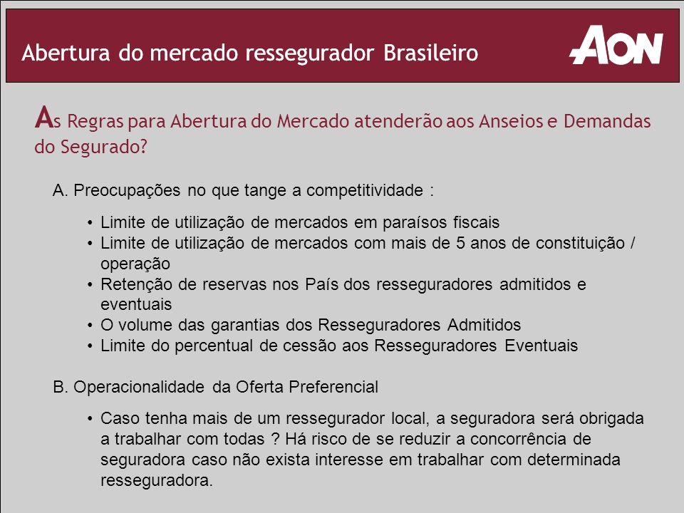 Abertura do mercado ressegurador Brasileiro A s Regras para Abertura do Mercado atenderão aos Anseios e Demandas do Segurado? A. Preocupações no que t