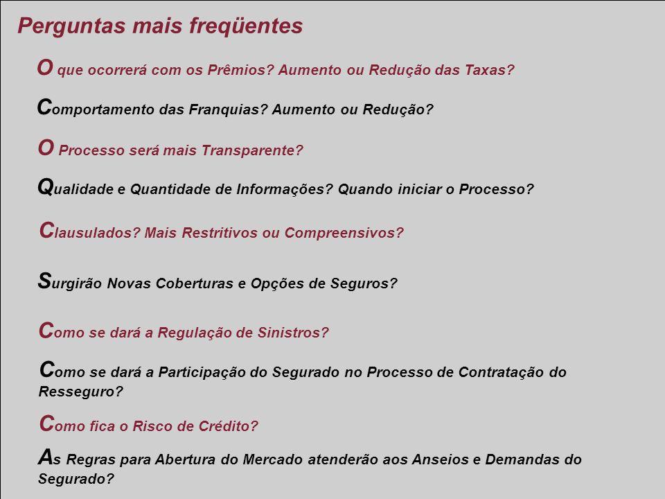 Abertura do mercado ressegurador Brasileiro C omo se dará a Participação do Segurado no Processo de Contratação do Resseguro? C lausulados? Mais Restr