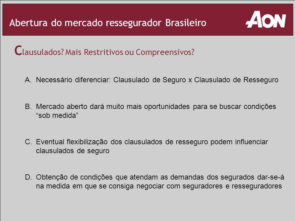 Abertura do mercado ressegurador Brasileiro C lausulados? Mais Restritivos ou Compreensivos? A.Necessário diferenciar: Clausulado de Seguro x Clausula