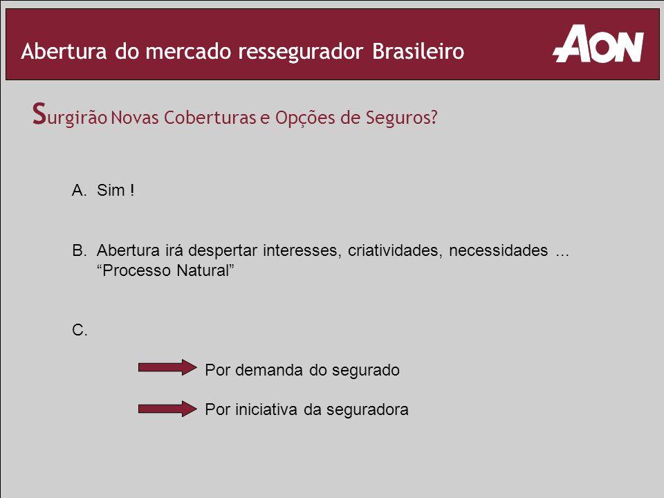 Abertura do mercado ressegurador Brasileiro S urgirão Novas Coberturas e Opções de Seguros? A.Sim ! B.Abertura irá despertar interesses, criatividades