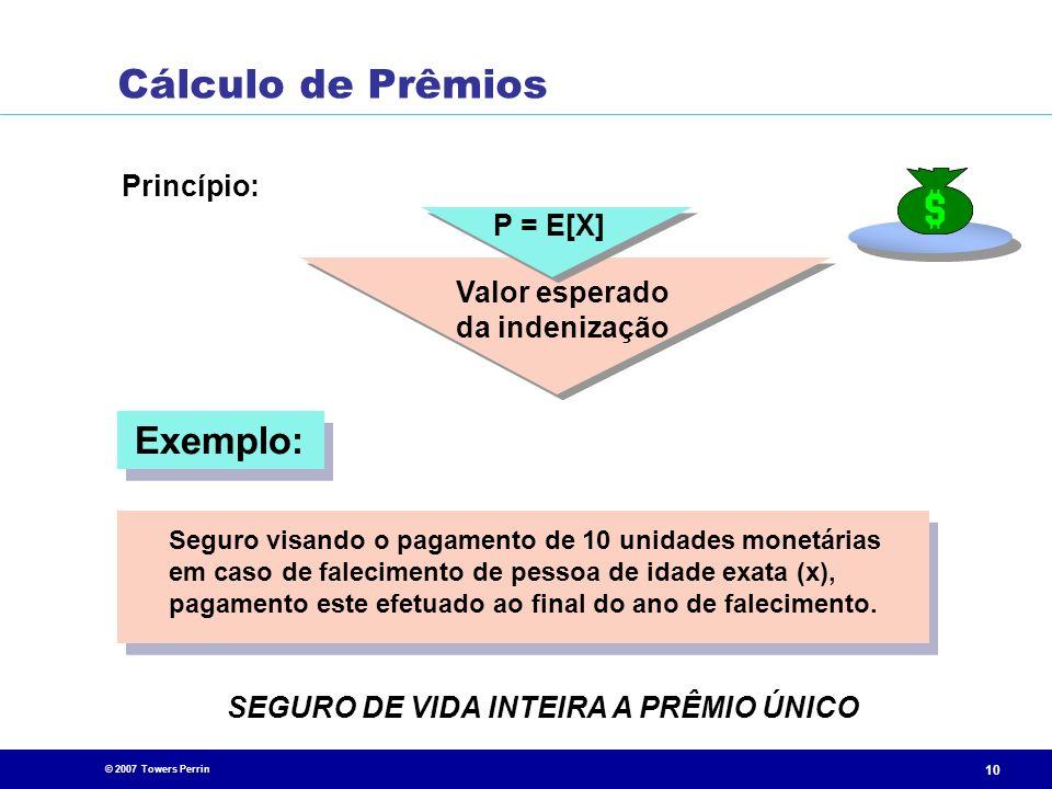 © 2007 Towers Perrin 10 Princípio: SEGURO DE VIDA INTEIRA A PRÊMIO ÚNICO P = E[X] Valor esperado da indenização Seguro visando o pagamento de 10 unida