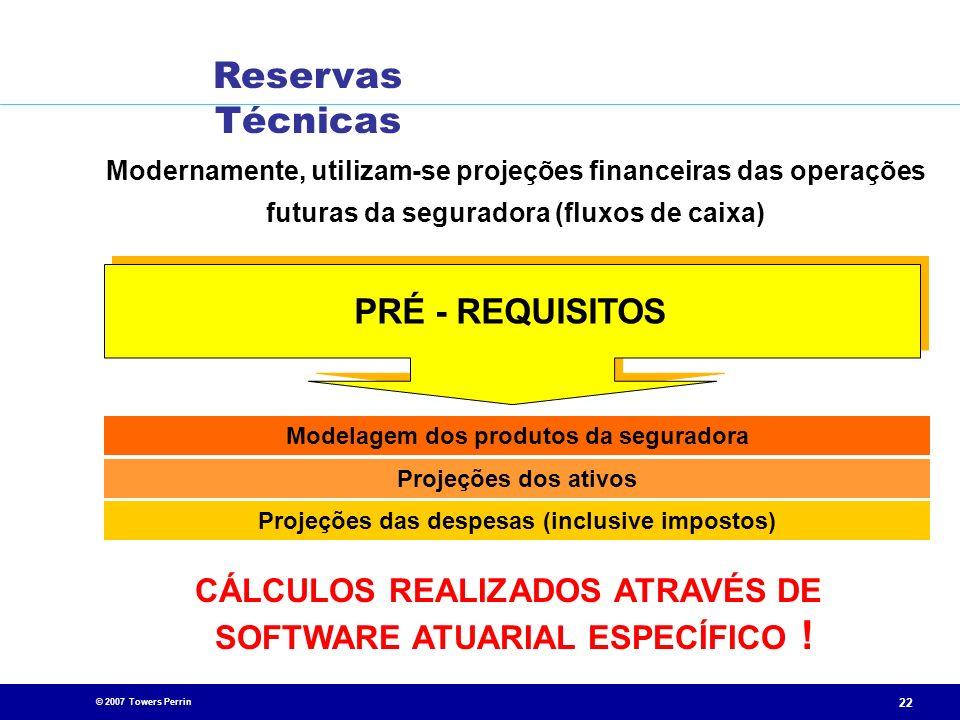 © 2007 Towers Perrin 22 Modernamente, utilizam-se projeções financeiras das operações futuras da seguradora (fluxos de caixa) CÁLCULOS REALIZADOS ATRA