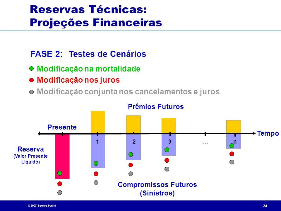 © 2007 Towers Perrin 24 Presente Compromissos Futuros (Sinistros)... 213n Tempo Prêmios Futuros Reserva (Valor Presente Líquido) Modificação na mortal