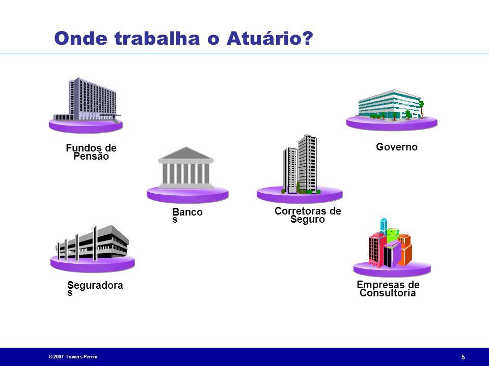 © 2007 Towers Perrin 5 Fundos de Pensão Seguradora s Corretoras de Seguro Banco s Governo Empresas de Consultoria Onde trabalha o Atuário?