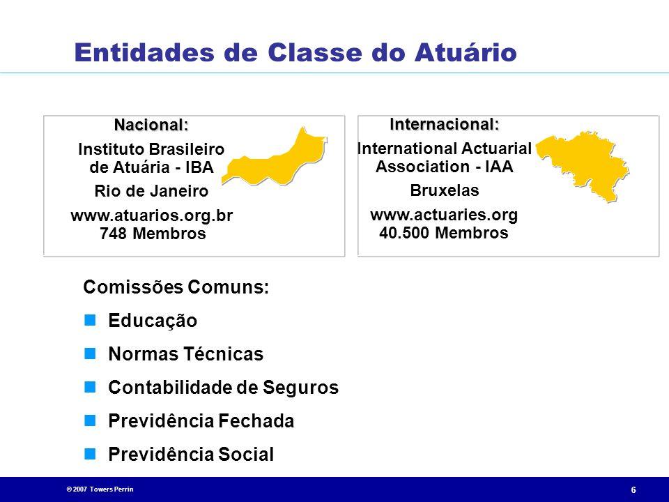 © 2007 Towers Perrin 6 Nacional: Instituto Brasileiro de Atuária - IBA Rio de Janeiro www.atuarios.org.br 748 Membros Internacional: International Act