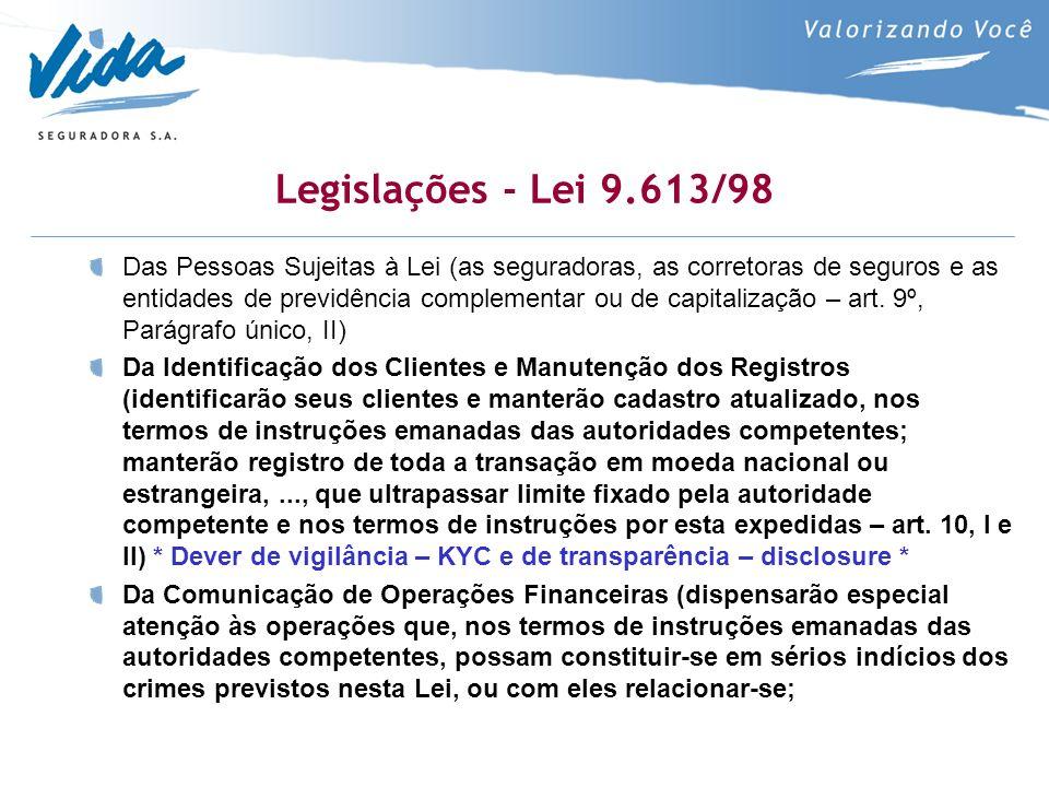 Legislações - Lei 9.613/98 Das Pessoas Sujeitas à Lei (as seguradoras, as corretoras de seguros e as entidades de previdência complementar ou de capitalização – art.