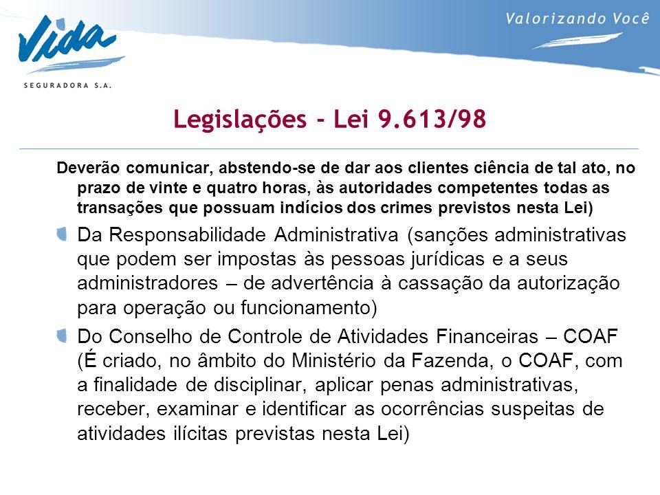 Legislações - Lei 9.613/98 Deverão comunicar, abstendo-se de dar aos clientes ciência de tal ato, no prazo de vinte e quatro horas, às autoridades competentes todas as transações que possuam indícios dos crimes previstos nesta Lei) Da Responsabilidade Administrativa (sanções administrativas que podem ser impostas às pessoas jurídicas e a seus administradores – de advertência à cassação da autorização para operação ou funcionamento) Do Conselho de Controle de Atividades Financeiras – COAF (É criado, no âmbito do Ministério da Fazenda, o COAF, com a finalidade de disciplinar, aplicar penas administrativas, receber, examinar e identificar as ocorrências suspeitas de atividades ilícitas previstas nesta Lei)