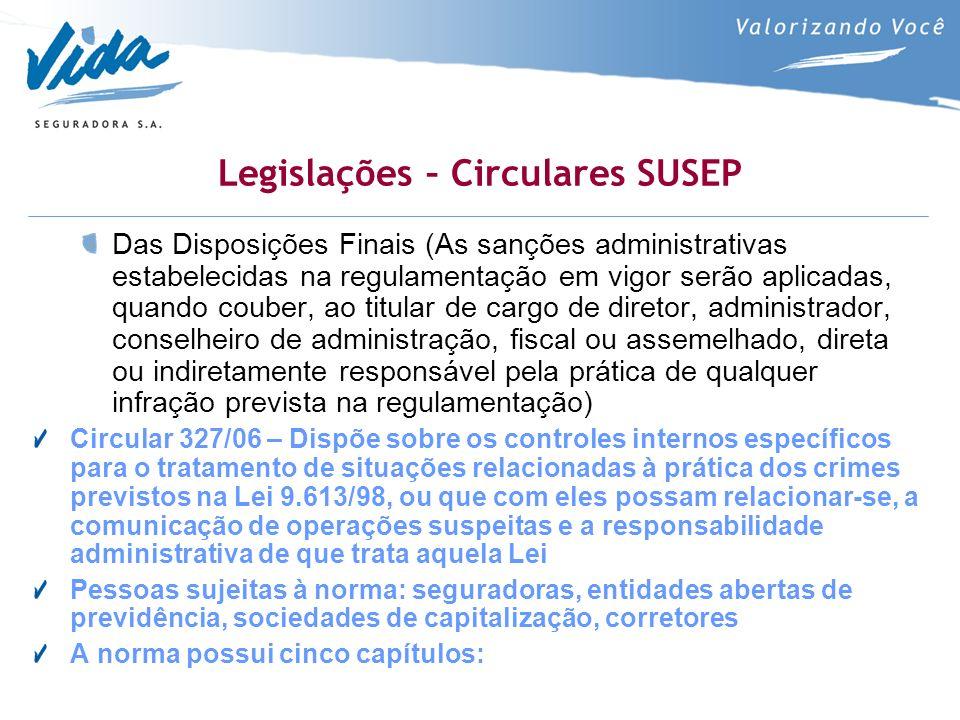 Legislações – Circulares SUSEP Das Disposições Finais (As sanções administrativas estabelecidas na regulamentação em vigor serão aplicadas, quando cou