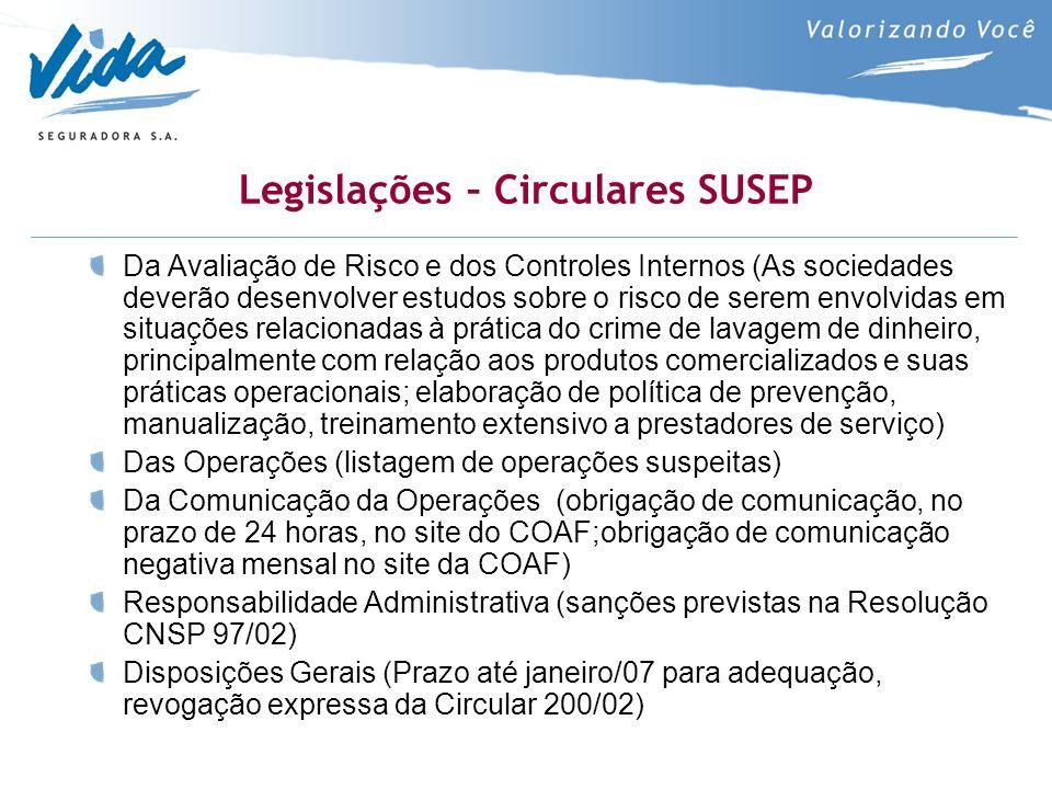 Legislações – Circulares SUSEP Da Avaliação de Risco e dos Controles Internos (As sociedades deverão desenvolver estudos sobre o risco de serem envolv
