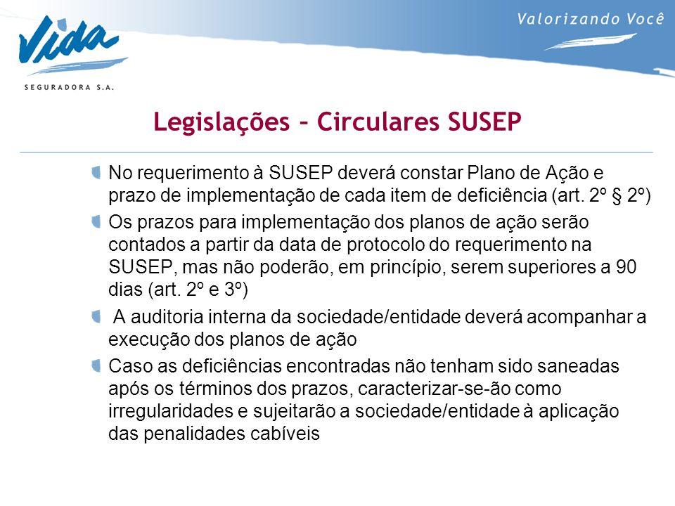 Legislações – Circulares SUSEP No requerimento à SUSEP deverá constar Plano de Ação e prazo de implementação de cada item de deficiência (art. 2º § 2º