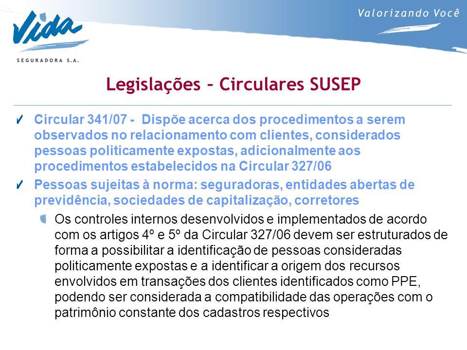 Legislações – Circulares SUSEP Circular 341/07 - Dispõe acerca dos procedimentos a serem observados no relacionamento com clientes, considerados pesso