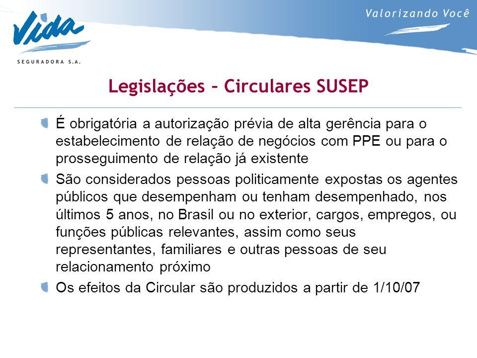 Legislações – Circulares SUSEP É obrigatória a autorização prévia de alta gerência para o estabelecimento de relação de negócios com PPE ou para o pro