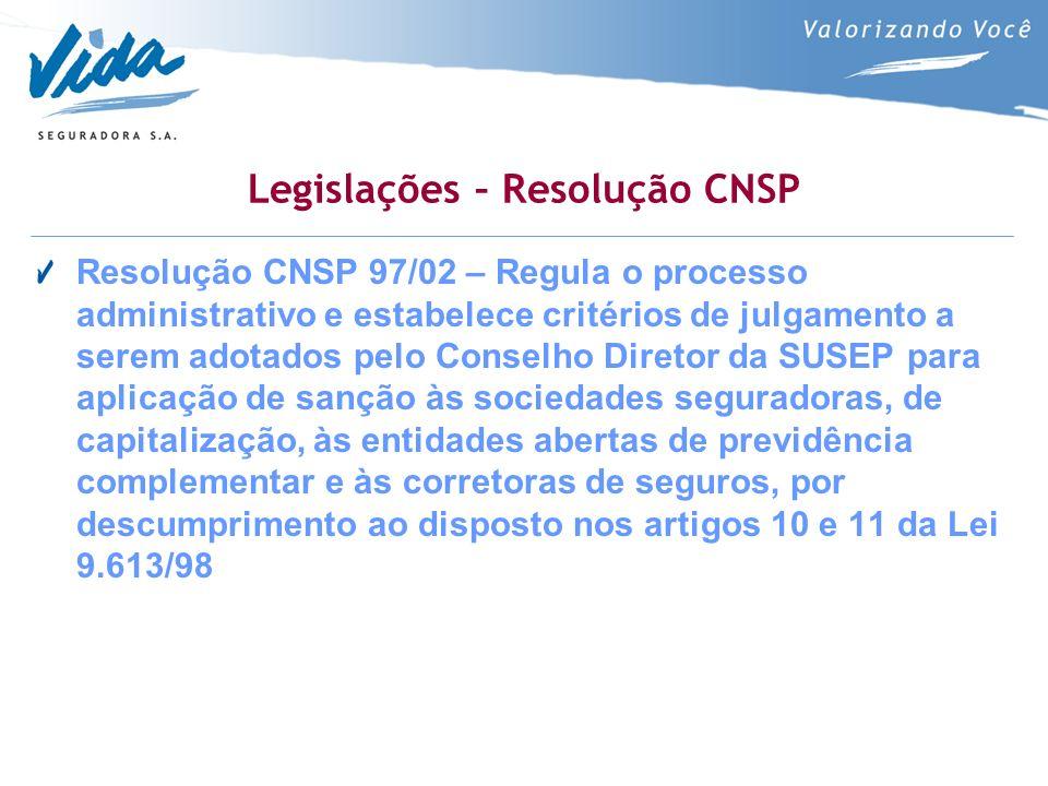 Legislações – Resolução CNSP Resolução CNSP 97/02 – Regula o processo administrativo e estabelece critérios de julgamento a serem adotados pelo Conselho Diretor da SUSEP para aplicação de sanção às sociedades seguradoras, de capitalização, às entidades abertas de previdência complementar e às corretoras de seguros, por descumprimento ao disposto nos artigos 10 e 11 da Lei 9.613/98