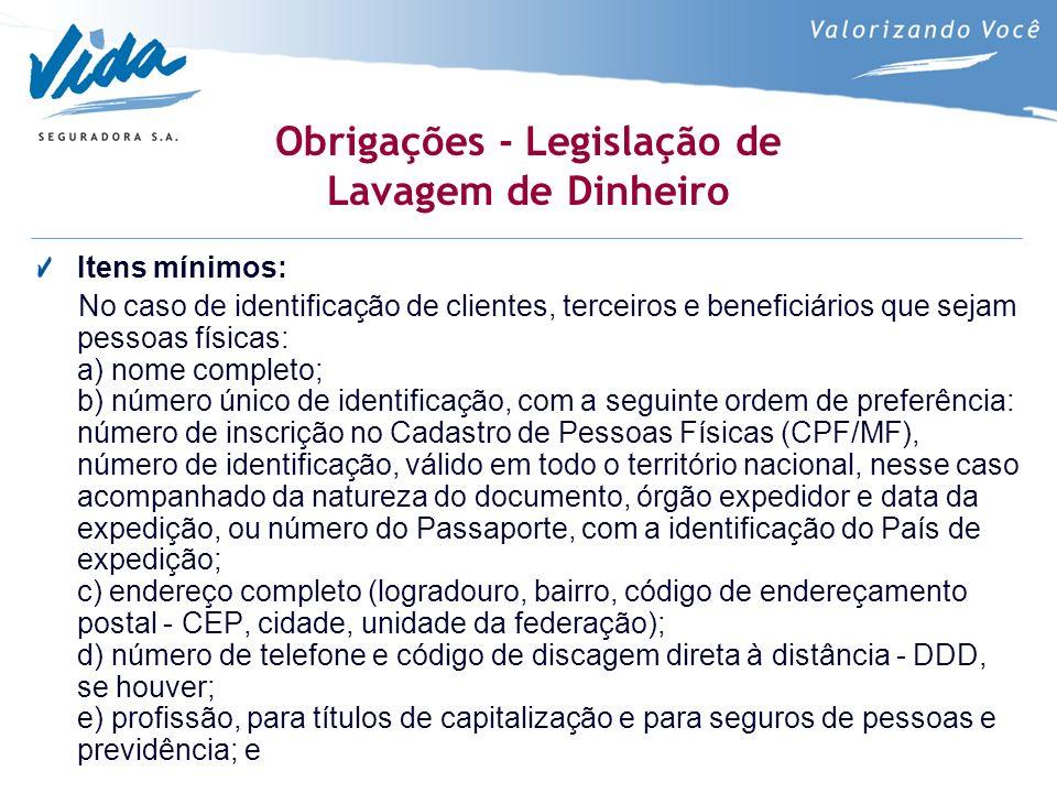 Obrigações - Legislação de Lavagem de Dinheiro Itens mínimos: No caso de identificação de clientes, terceiros e beneficiários que sejam pessoas física