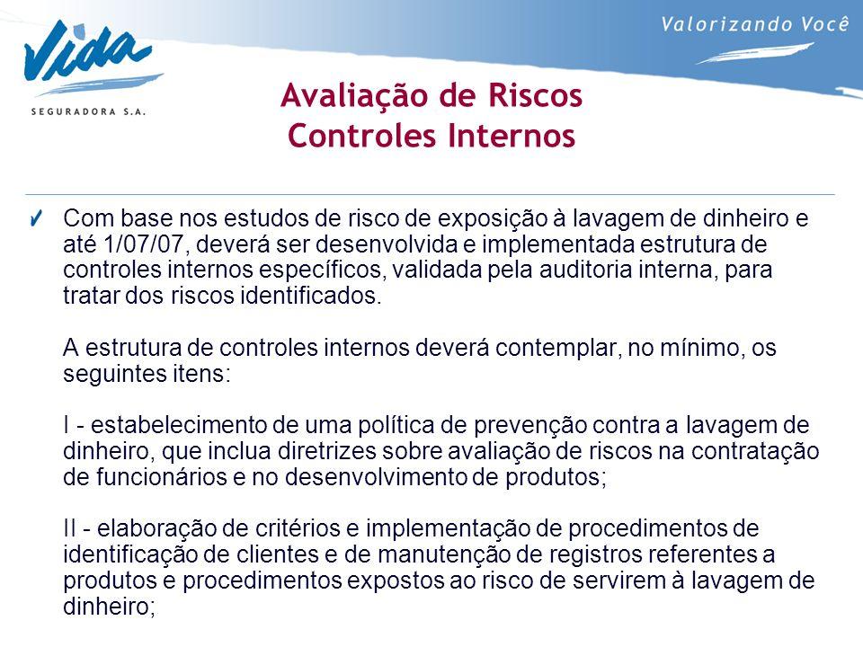 Avaliação de Riscos Controles Internos Com base nos estudos de risco de exposição à lavagem de dinheiro e até 1/07/07, deverá ser desenvolvida e imple